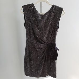 Taylor Gray Black Sequin Cocktail Dress Bow